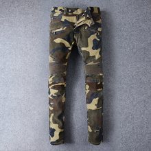 Hi-Street Mens Camouflage Motocycle Jeans Camo Military Slim Fit Overalls Pants For Men Famous Designer Biker Jeans With Zippers