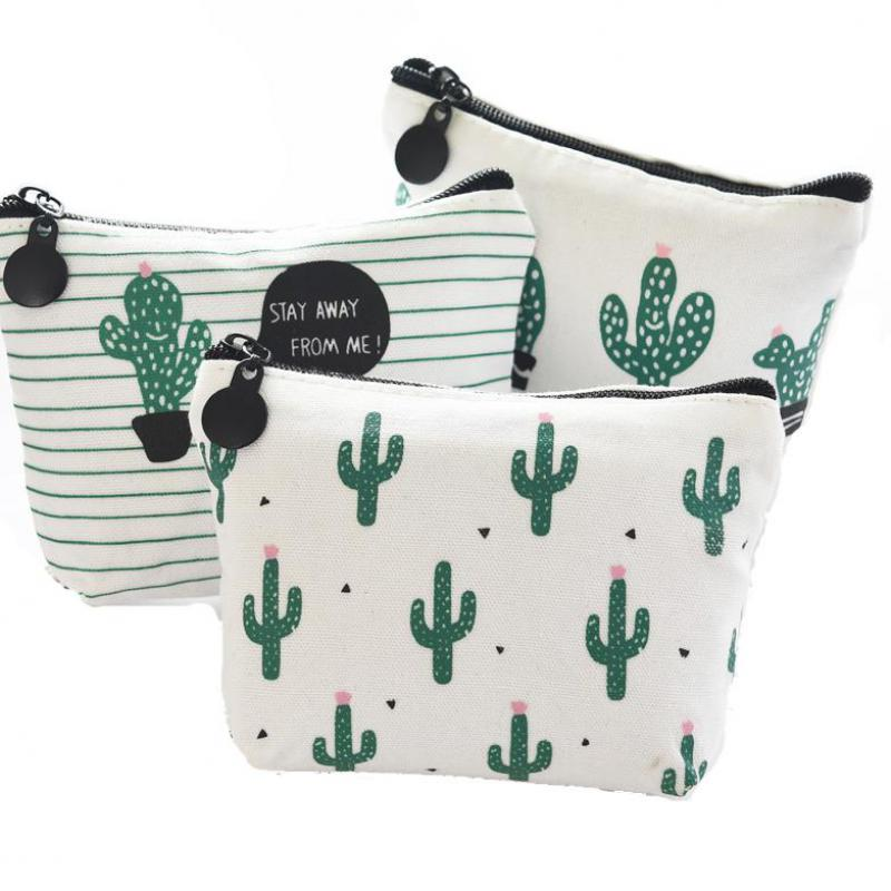 Wholesale Cactus Zero Purse Small Fresh Mini Pocket Money Bag Creative Earphone Coin Bag Custom