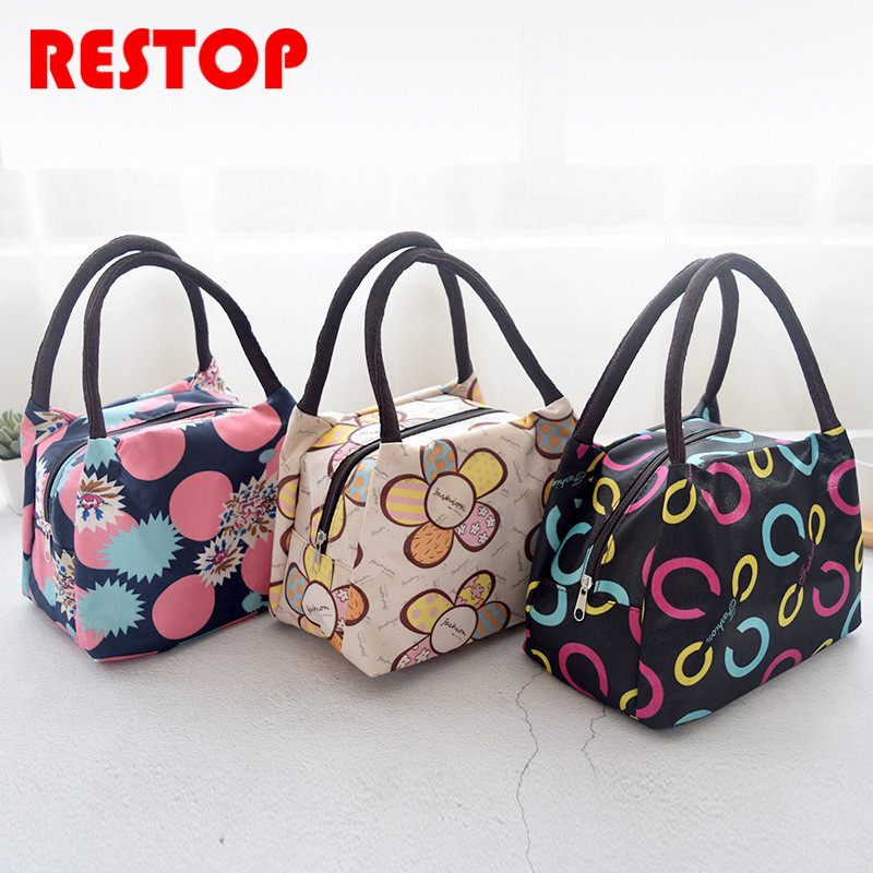 Portable Stripe Insulated Oxford Lunch Bag Thermal Food Picnic Lunch Bags for Women kids Men Cooler Lunch Box Bag Tote RES530