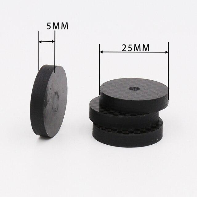 Isf0001 preto fibra de carbono alto falante isolamento 25x5mm spike base almofada sapato pés alta fidelidade 4 pçs