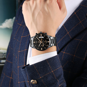 Image 4 - NIBOSI Watch Relogio Masculino Luxury Brand Mens Chronograph Business Watches Men Steel Leather Waterproof Quartz Wristwatch