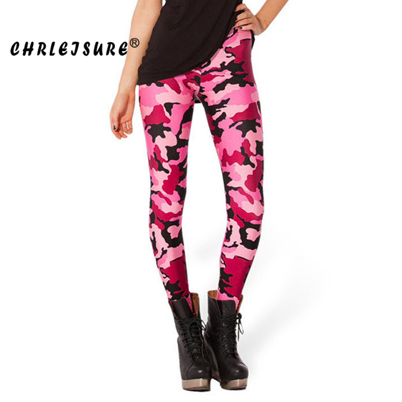 CHRLEISURE S-XL Pink Camouflage Leggings Women Print Workout Legins Trousers Big Size Female Fitness leggings Clothing