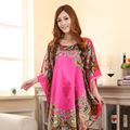 Летний Новый Светло-Голубой Китайский Стиль Шелковый Район Одеяние женщин Сексуальный свободные Главная Платье Винтаж Кафтан Халаты Пижамы Плюс Размер L02