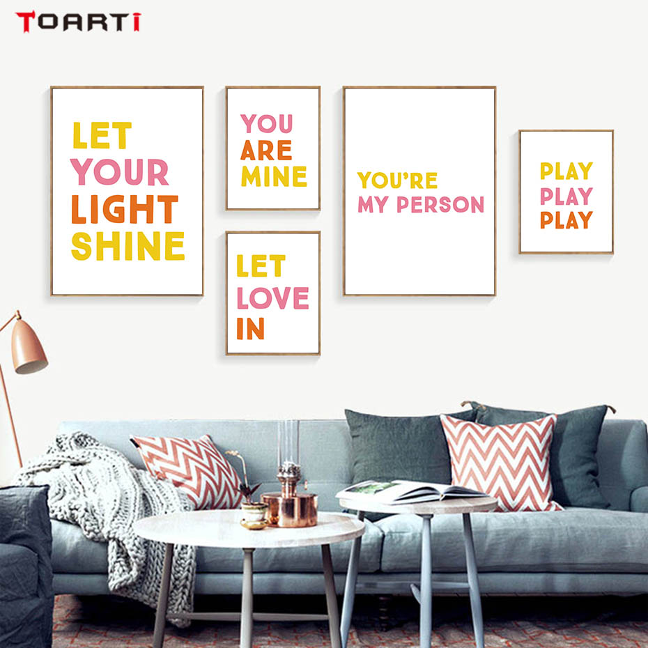 Colorful Love Quotes Printable Art Canvas Painting Yellow Pink Color