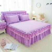 Purple Lace bedding Bed Skirt 100%Cotton Princess Bedspread Bed Linen Pillowcase Long pillowcase Bedside Cabinet Dust Cover