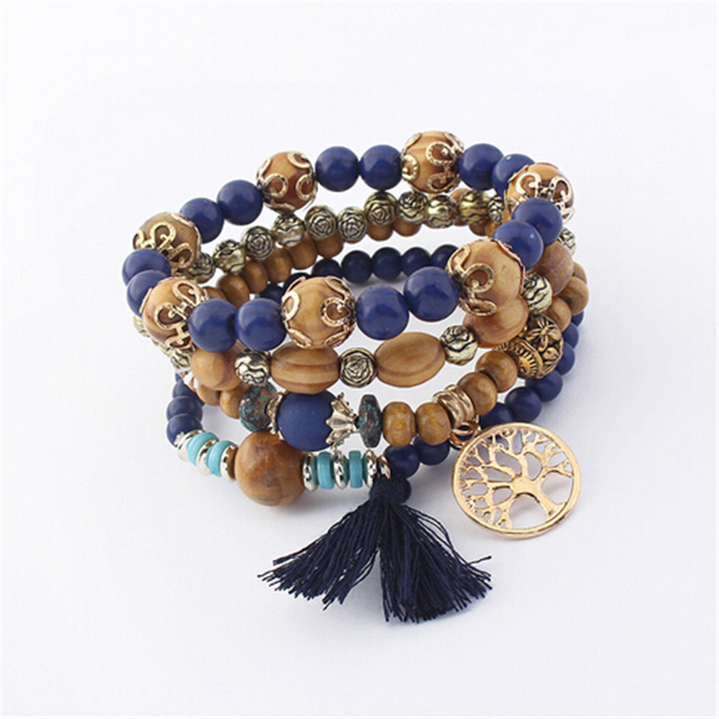 ZOSHI Bohemian Multilayer Colorul Natural Stone Wood Beads Bracelet Life Tree Pendant Tassel Elastic Bracelets Bangles for women