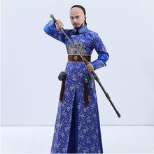 New arrival Chinese ancient costume male film performance wear blue embroidered dragon brocade the Qing dynasty prince clothes