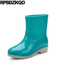плоские слипоны водонепроницаемый ботильоны желе 10 синий резиновые сапоги конфеты женщины Круглый носок обувь короткая дешево 2017 больших размеров китайский женский женская новый мода