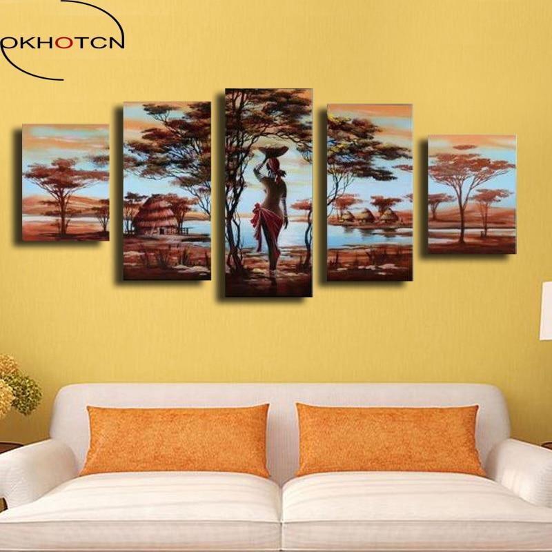 Us 845 35 Offokhotcn Obraz Olejny Na Płótnie Oprawione Dekoracje ścienne Afrykańska Kobieta Dekoracje Plakaty Dla Kobiet W Stylu Vintage Dekoracji
