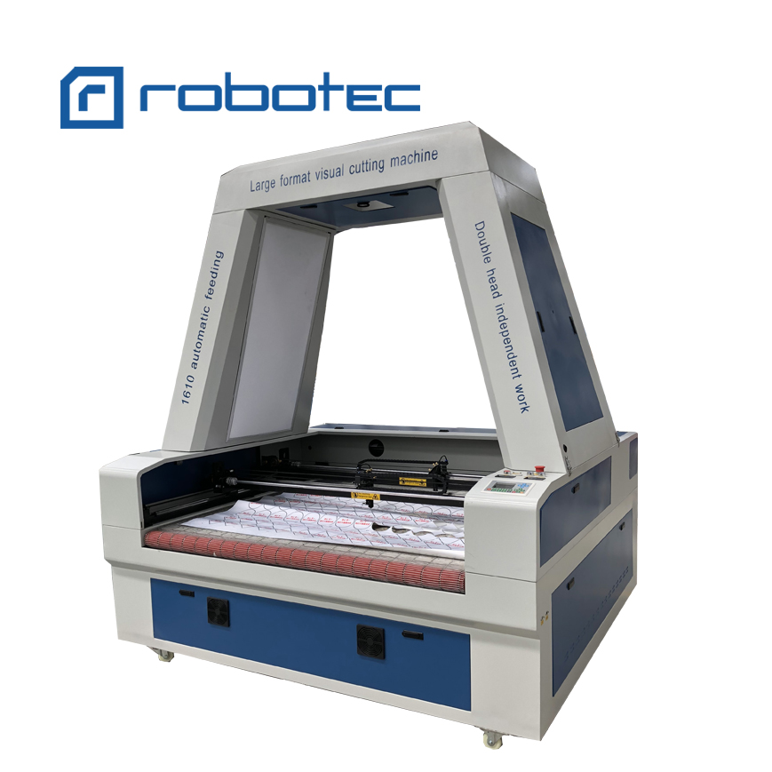 Independent double heads auto feeding laser cutting machine 1610 with full vision CCD camera
