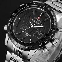 NAVIFORCE Luxury Brand Full Steel Watch Men LED Sports Army Military Watches Men S Quartz Analog