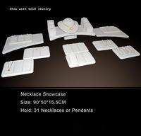 Рождественский подарок модные Дизайн бежевый бархат Jewelry Дисплей для 31 грудных Цепочки и ожерелья лоток Подвеска стенд витрина Бокс день пр