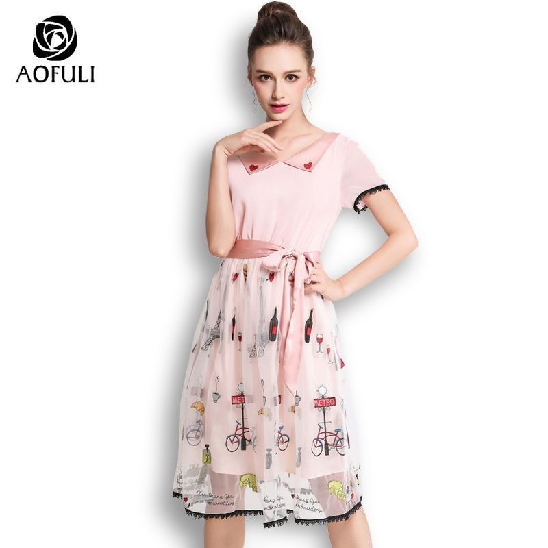AOFULI Elegant Cartoon Embroidery Tulle Dress Summer Bow Tie Mesh Pink Party Dresses For Ladies Plus