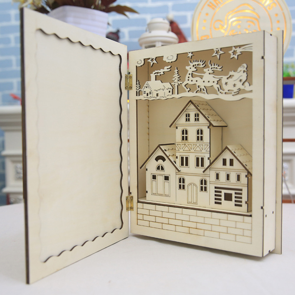 HIINST Wood Doll House Book Puzzles Cute Room With LED Furniture Kit Miniature Gift Sep29 Drop Shipping