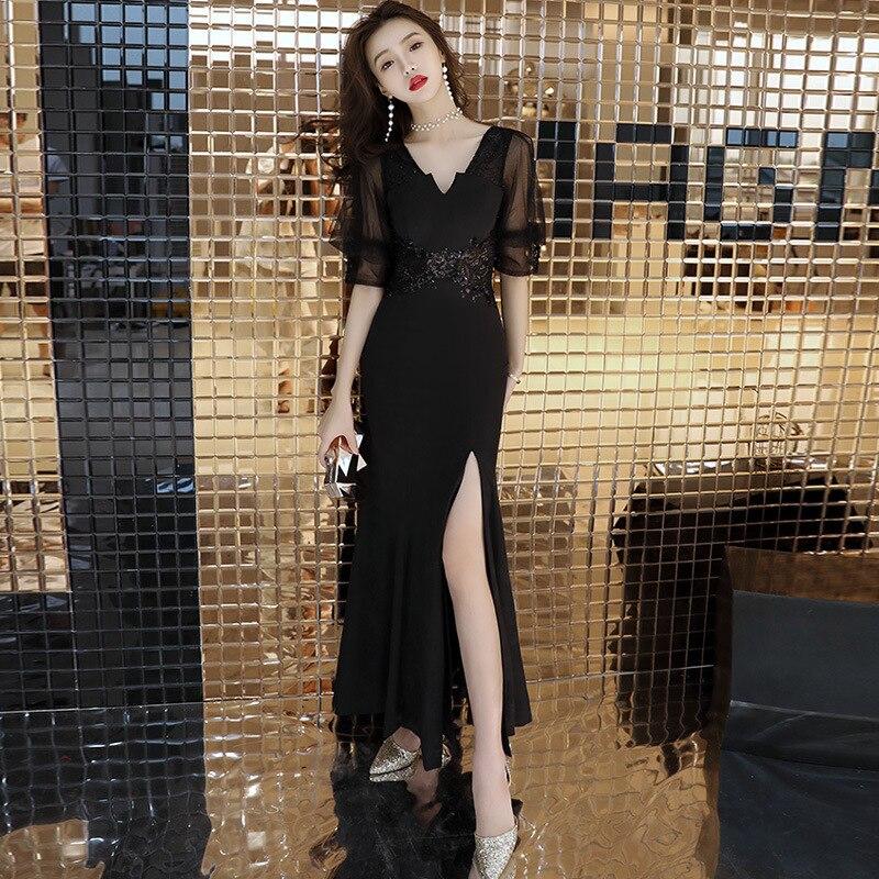 Sexy col en V femmes élégantes longues robes de soirée d'été voir à travers la taille haute fente latérale creux noir Robe Clubwear xxl