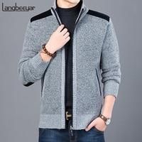 2019 толстый новый модный бренд свитер для мужчин кардиган Slim Fit вязаные Джемперы теплый осень повседневное корейский стиль костюмы мужской
