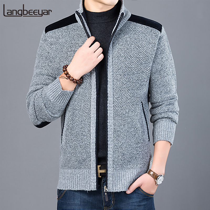 2020 Thick New Fashion Brand Sweater For Mens Cardigan Slim Fit 