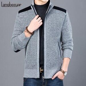 Image 1 - 2020 maglione spesso nuovo marchio di moda per Cardigan da uomo maglioni Slim Fit maglieria autunno caldo Casual stile coreano abbigliamento uomo