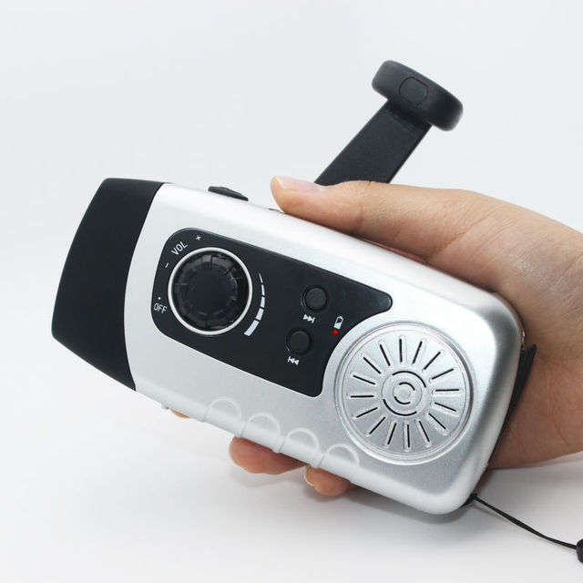 Manivela de Radio FM de Radio 2000 mAh Banco de la Energía Solar Cargador de Móvil USB Cable Con 1 W Linterna Super Brillante Una astilla