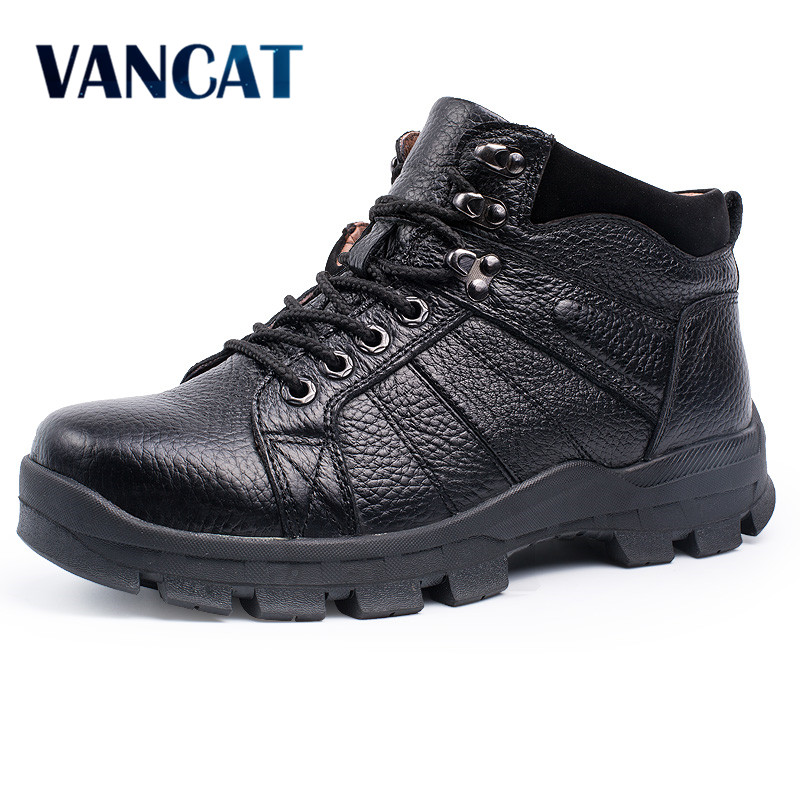 VANCAT  Winter Men Boots 100% Genuine Leather Men Snow Boots Warmth Martin Boots Fur Inside High Quality Outdoor Working Shoes