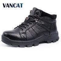 VANCAT Winter Men Boots 100 Genuine Leather Men Snow Boots Warmth Martin Boots Fur Inside High