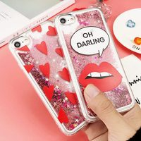 Sexy Red Lips Love Heart Dynamic Liquid Quicksand Stars Glitter Phone Case For iphone 6 6S 7Plus Shockproof TPU Soft Cover Coque