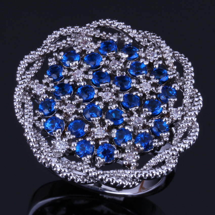 Admirable Big Flower Blue Cubic Zirconia White CZ 925 Sterling Silver Ring For Women V0520