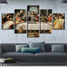 Canvas Painting Living Room Wall Art Modular Poster 5 Panel Last Supper Jesus HD Printed Modern Framework Pictures Home Decor