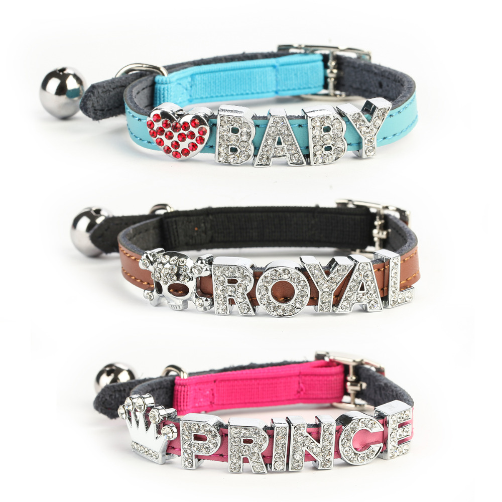 Us 5 88 Fashion Genuine Leather Cat Collar With Letter Charms Diy Name Kitty Dog Puppy Collars With Bell Safety Elastic Belt In Cat Collars Leads