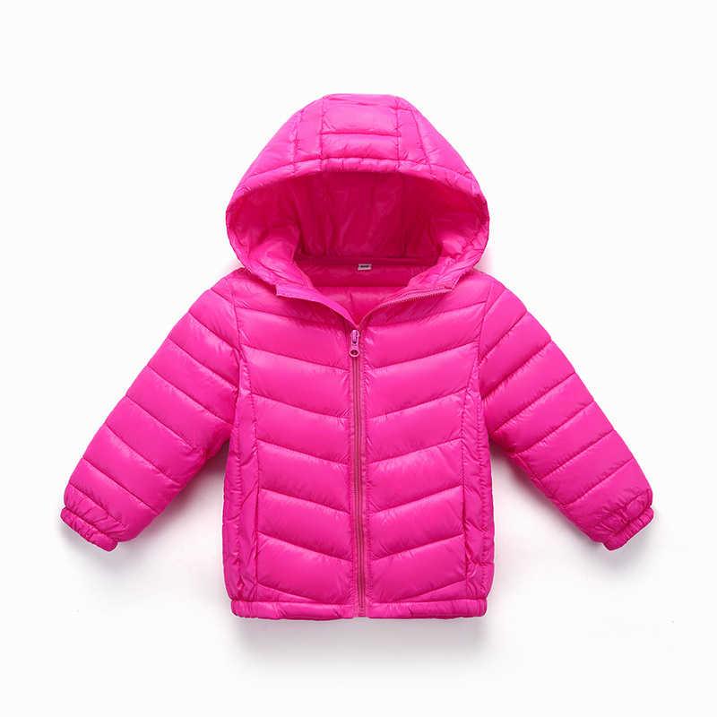 Детские зимние куртки пуховик для девочки Осенняя теплая куртка с капюшоном и длинными рукавами для маленьких мальчиков детская парка, верхняя одежда