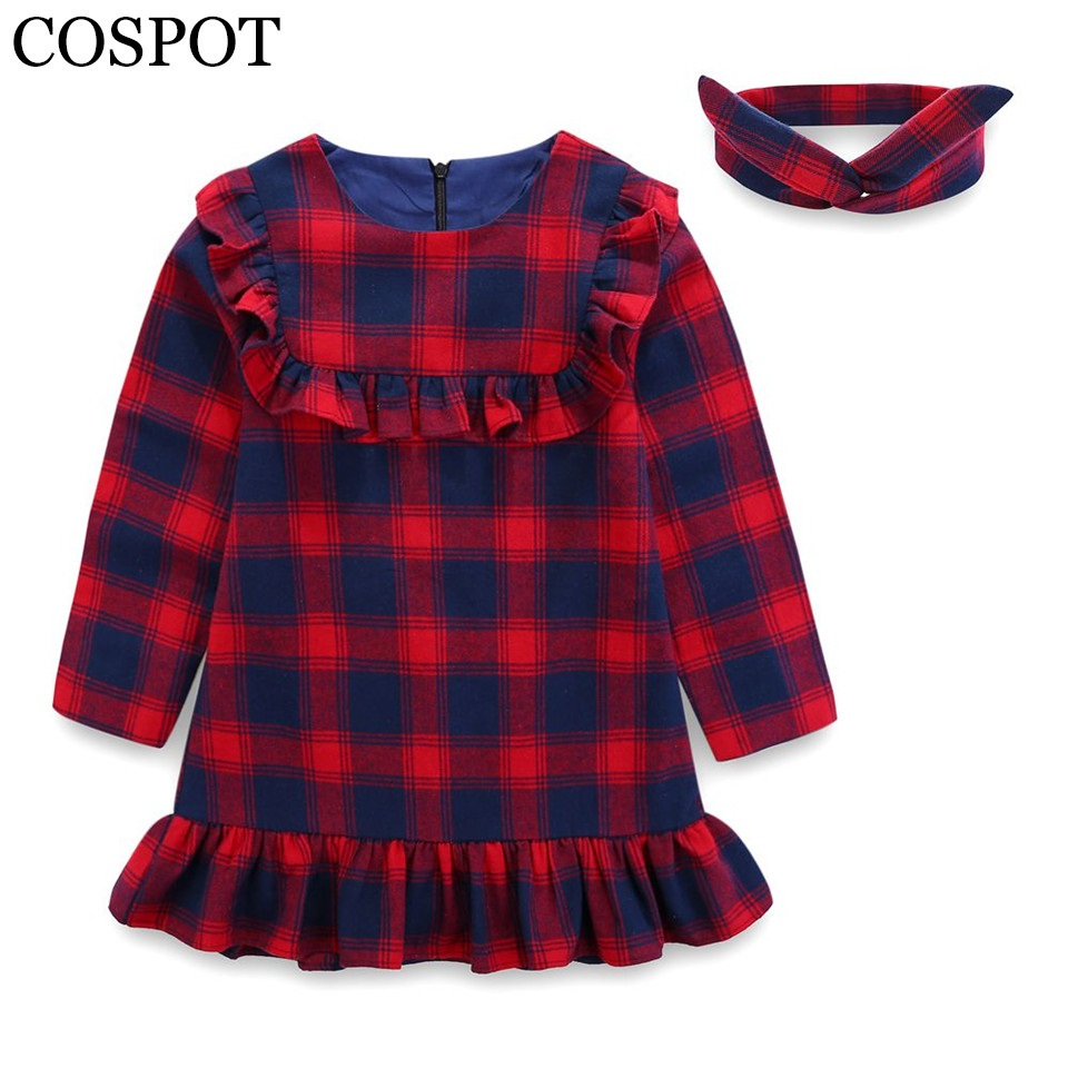 COSPOT Baby Girls Long-sleeved Dress Girl Cotton Plaid Dress Girls Winter Casual Princess Dresses 2018 New  Arrival 2-15Yrs 25F muqgew 2018 new arrival baby dress