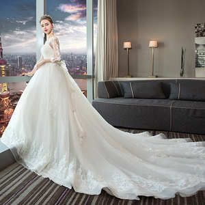 Image 3 - Fansmile Luxury Long Train Vestido De Noiva Lace Wedding Dress 2020 Customized Plus Size Wedding Gowns Bridal Dress FSM 490T
