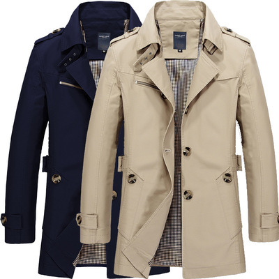 Men's Chic Lapel Large Size Long-sleeve Slim Fit Belt Trench Coat Casual Men Outwear Solid Single Breasted Male