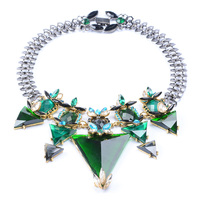 2015 New Arrival Fashion Big Brand Triangle Geometry Necklace Luxury Crystal Glass Necklace For Women Collar
