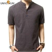 Univos kuni erkekler keten gömlek konfor nefes çin tarzı gündelik giyim yaz kısa kollu marka v yaka gömlek ab s-xl z2444