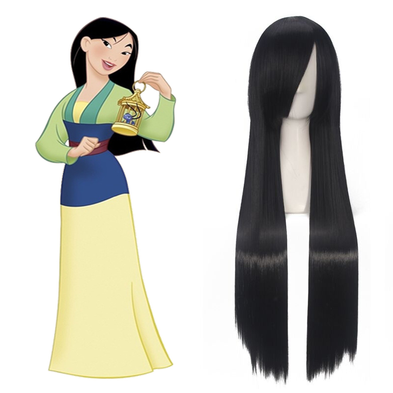 Mulan Cosplay Wig 80cm Black Long Straight Princess Women Girls Synthetic Hair + Wig Cap