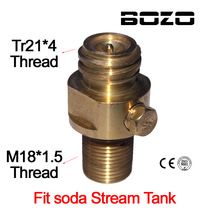 M18x1.5 Thread Soda Stream tangki Maker Valve Adapter Refill CO2