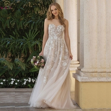 Romantic A-Line Wedding Dresses 2019 Streapless Appliques With Tulle Sleeveless Bridal Dresses Custom Made Wedding Party Gowns