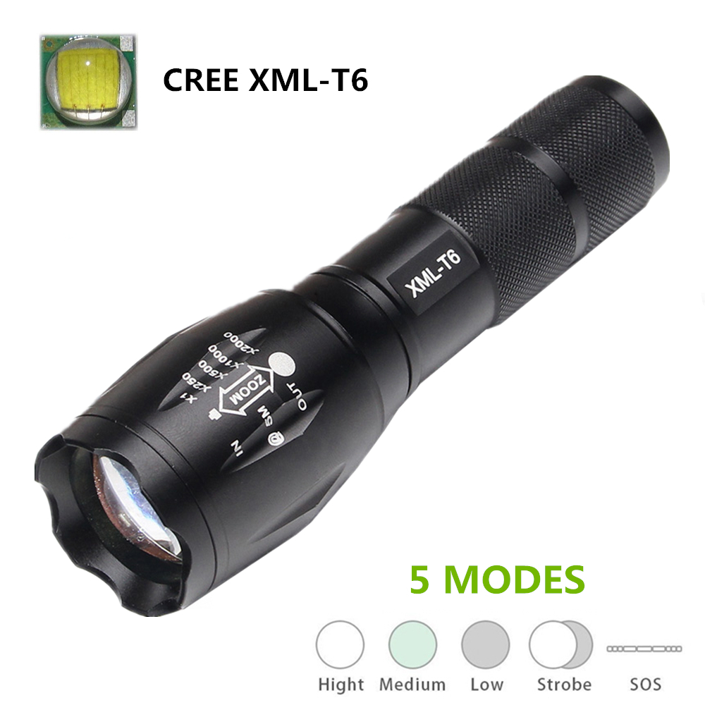 5000 lumen flashlight Cree XM-L T6 LED Tactical Flashlight torch  powered by 1 x rechargeable 18650 battery or 3 x AAA battery super bright 11000 lumen 9 x cree xml t6 led torch 5 mode flashlight with extendable arm powered by 18650 rechargeable battery