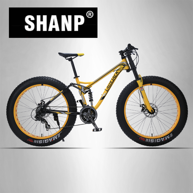 LAUXJACK Mountain Fat Bike Steel Frame Full Suspention 24 Speed Shimano Disc Brake 26x4.0 Wheel Long Fork 26 32 holes disc brake mountain bike wheel alloy cassette ball hubs wheel suitable for 7 8 9 speed mountain bike accessories