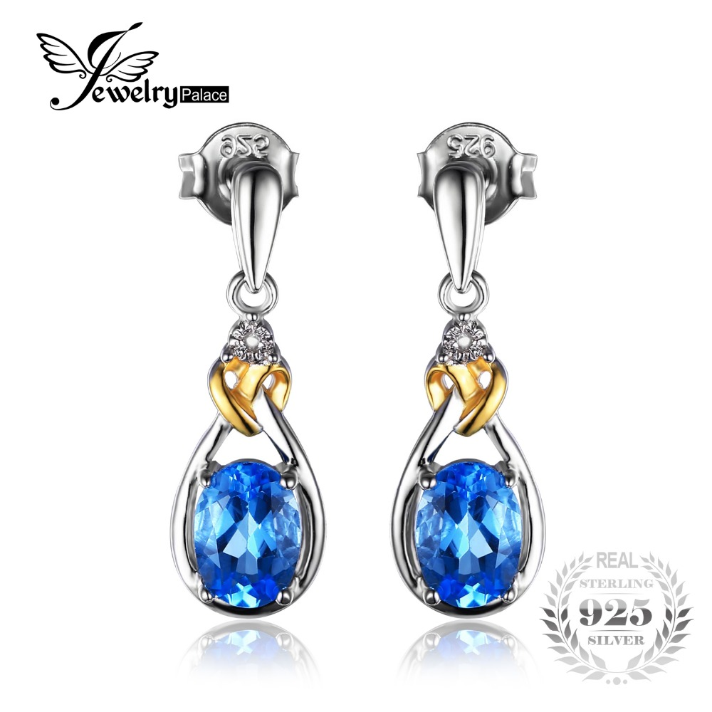 Jewelrypalace Love Knot 19ct Natural Blue Topaz Diamond Accented 925  Sterling Silver 18k Gold Dangle Earrings Fine Jewelry