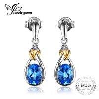 Love Knot 1 9ct Natural Blue Topaz Earrings Dangle Gemstone Genuine Diamond 925 Sterling Silver 18K