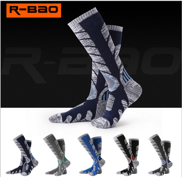 3 Pairs R-BAO RB3301 Ski Socks 85% Cotton Hiking Socks Outdoor Mens Sports Socks Spring Winter Fit to Size 39-43