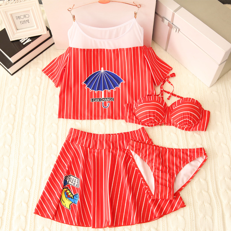 Summer new Independent short skirts short sleeves four Pieces swimsuit Sexy Push Up bikini swimwear beach women bathing suits