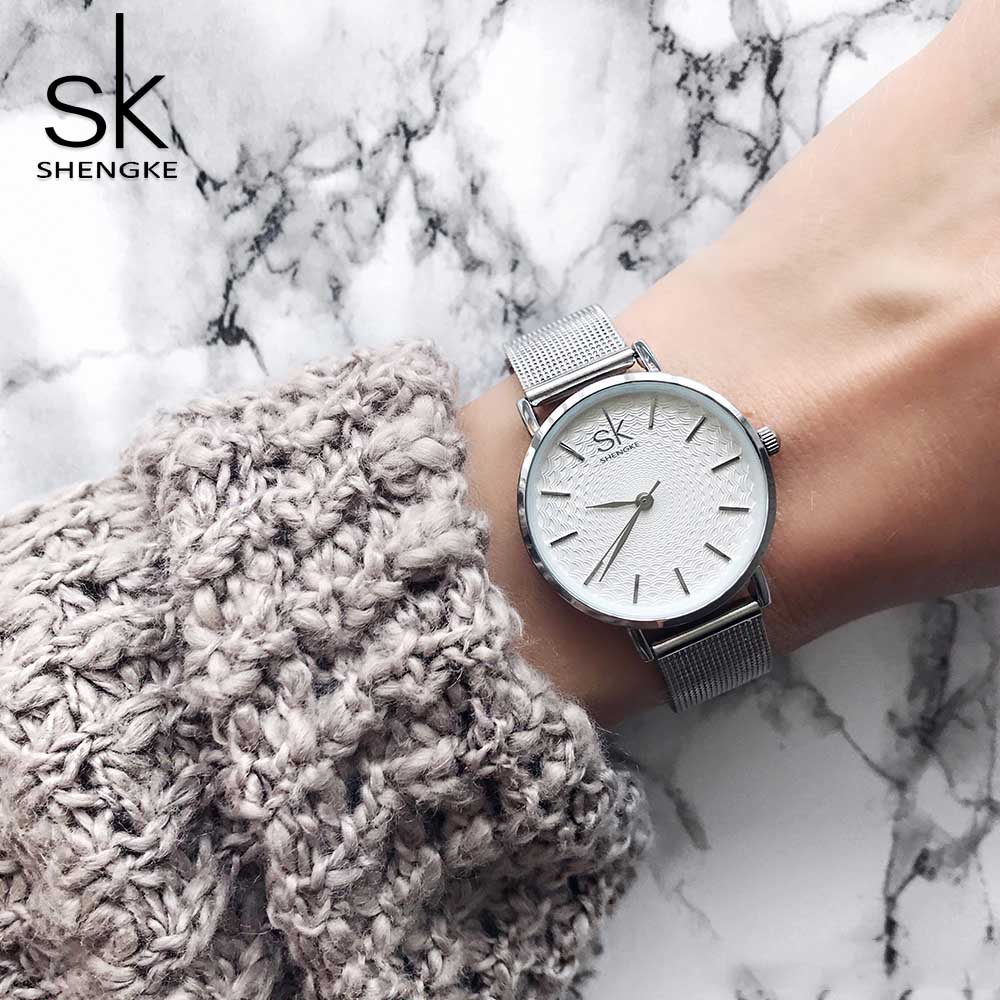 Shengke Fashion Women Watches Super Slim Stainless Steel Mesh Quartz Ladies Watch Top Brand Luxury Clock Women montre femme saat women watches top brand luxury fashion slim red leather strap roman numerals dial quartz wrist watch ladies clock montre femme