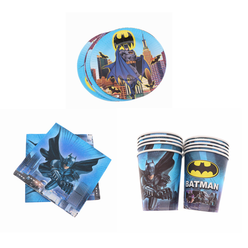 40Pcs Batman Theme Disposable Tableware  Party Supplies Cups Napkins Plates Baby Shower Birthday Party Decorations Kids Boy40Pcs Batman Theme Disposable Tableware  Party Supplies Cups Napkins Plates Baby Shower Birthday Party Decorations Kids Boy