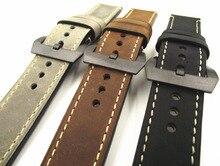 Negro hebilla 1 UNIDS 20 MM 22 MM 24 MM 26 MM de cuero genuino venda de Reloj de cuero de caballo Loco hombre hombre de la correa correas de reloj-WGH0130