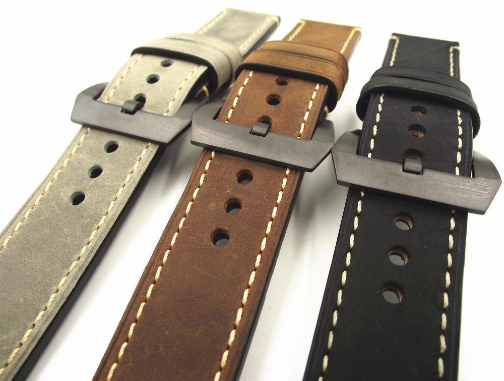 Prix pour Noir boucle 1 PCS 20 MM 22 MM 24 MM 26 MM véritable en cuir Fou cheval en cuir bande de Montre montre bracelet homme montre sangles-WGH0130