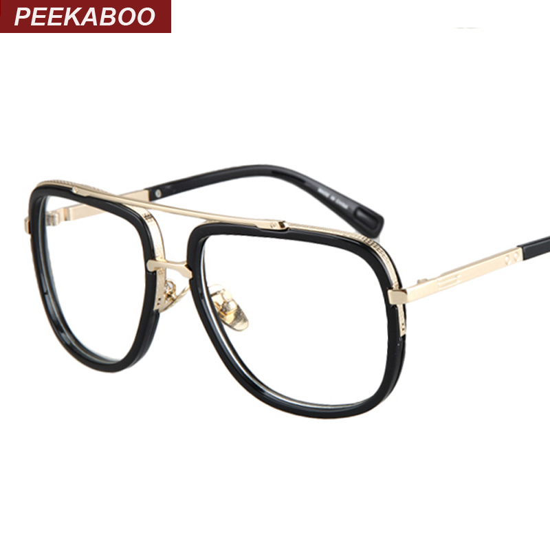 71869a3725 Peekaboo Gold metal eye glasses frames for men brand big matte black square  frame glasses optical male female unisex gafas