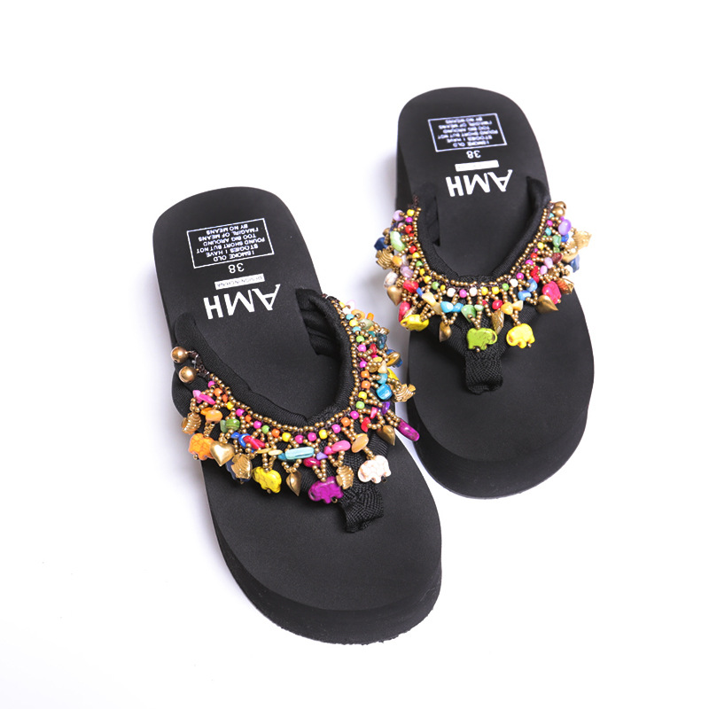 New Fashion Summer 2018 Bohemia Style Elephant Flip Flop Anti-Slip Shoes Women Slippers Outdoor Beach Casual Shoes breathable women hemp summer flat shoes eu 35 40 new arrival fashion outdoor style light